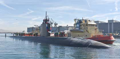 SAN DIEGO (Feb. 2, 2018) The Los Angeles-class fast attack submarine USS Annapolis (SSN 760) arrives in her new homeport at Naval Base Point Loma. USS Annapolis is the fourth ship to be named for Annapolis, Md., site of the U.S. Naval Academy. She arrived after two years of extensive maintenance at Portsmouth Naval Shipyard in Kittery, Maine and three months operating at sea. U.S. Navy photo by MC2 Derek Harkins.
